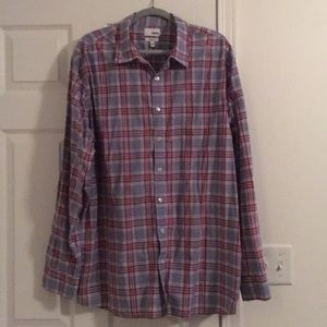 Men's plaid grey and maroon button up dress shirt